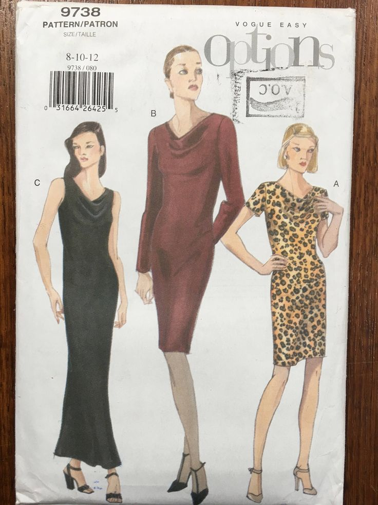 Vogue Sewing Pattern Vogue 9738 Misses Bias Dress A line Back Slit Pattern Close Fit sz 8 10 12 UC uncut pattern by weseatree on Etsy