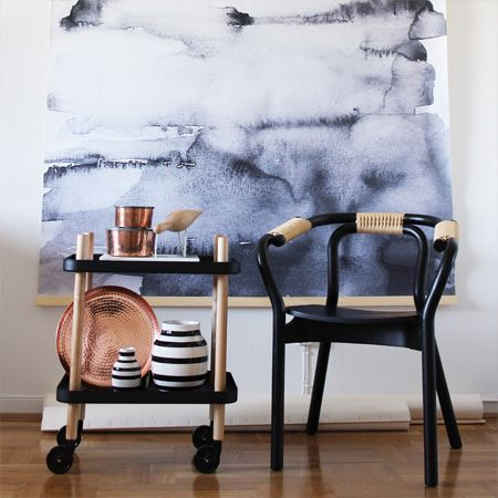 Block Table from Normann Copenhagen. Background wall hanging by Nynne Rosenvinge. - Q4 Scandinavian Design
