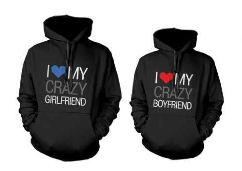 365 In Love His and Her Matching Hooded Sweatshirts I Love My Crazy Boyfriend and Girlfriend Couples Hoodies by 365 in love