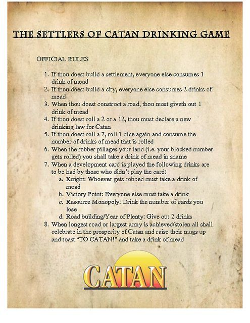 How To Play Drinking Alcohol With Settlers Of Catan