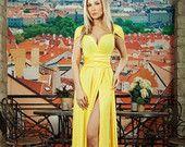 """Yellow Dress  Maxi. Bridesmaids Dress """"One Color"""" 100% Viscose.Evening dress /  High Quality Designer summer dress. Silk dress."""