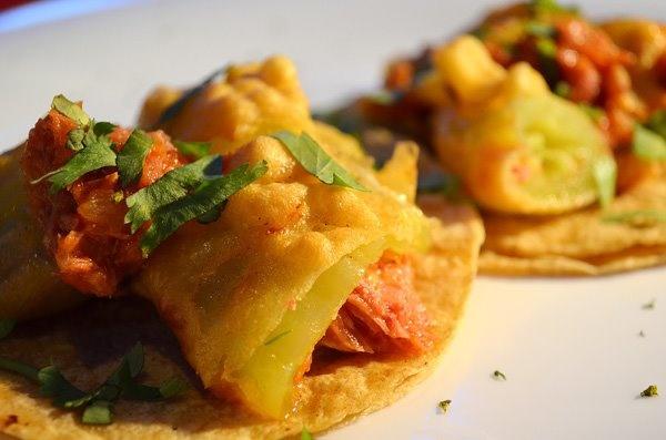 Tacos de chile xcatic relleno de marlin @ Kool Fish
