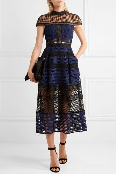 Self-portrait Navy and black guipure lace, black crochet-lace Partially concealed hook and zip fastening at back 100% polyester; lining: 100% polyamide  Hand wash £360