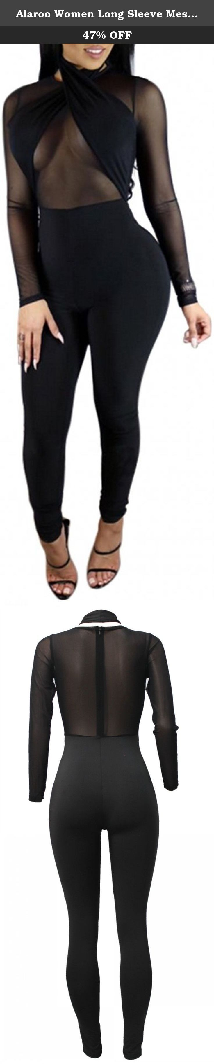 Alaroo Women Long Sleeve Mesh Sheer Black Mesh Bodysuit Jumpsuit. Fabric Type:Broadcloth Design: Patchwork Jumpsuit Neckline:V-Neck Sleeve Length:Full Pattern Type:Solid Style:Sexy & Club Material:Cotton,Polyester Size:S, M, L, XL Weight: 500g=1.1lb .