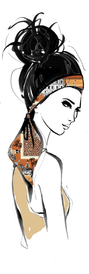 ♔ i l l  p o p {fashion illustration}  Hermés Scarf by Megan Hess