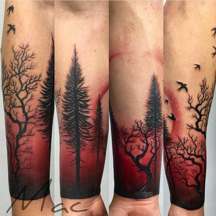 Background Color Tattoos Forest Tattoos Tattoos For Guys