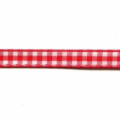 Ruban rouge vichy en polyester