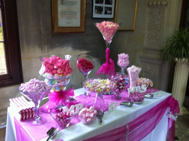 Pink candy buffet we provided at Dumbleton Hall!