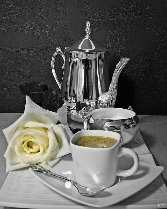 Morning Coffee with White Rose - still life art print
