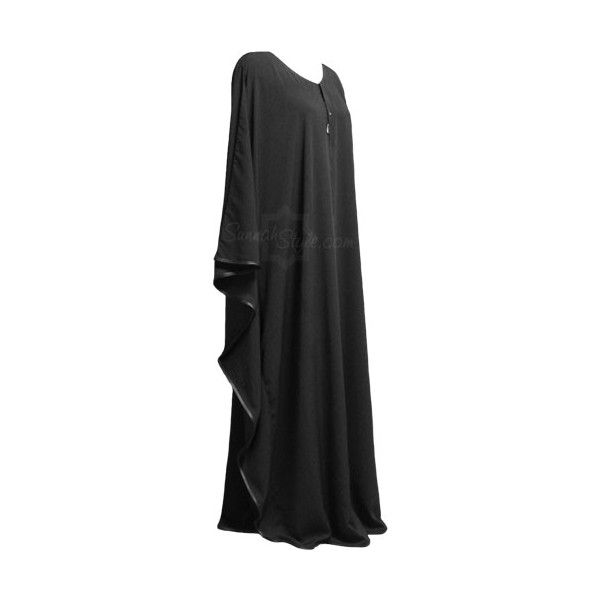 Black Satin Full Butterfly Abaya - SunnahStyle.com (500 MAD) ❤ liked on Polyvore featuring abaya