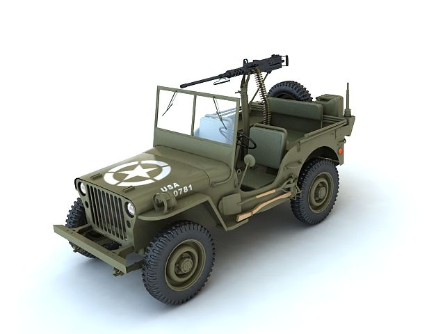 """Willys MB 3D Model- The Willys MB US Army Jeep formally the Truck, 1/4 ton, 4x4 and the Ford GPW were manufactured from 1941 to 1945. These small four-wheel drive utility vehicles are considered the iconic World War II Jeep, and inspired many similar light utility vehicles. Over the years, the World War II Jeep later evolved into the """"CJ"""" civilian Jeep. Its counterpart in the German army was the Volkswagen K?belwagen, also based on a small automobile, but which used an air-cooled engine and…"""