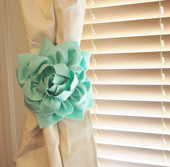 TWO Dahlia Flower Curtain Tie Backs Curtain Tiebacks by bedbugs. I want mint curtains with white flower tie.
