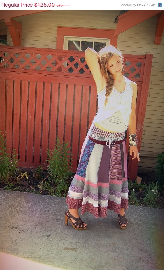 CIJ Sale Eco long boho SKIRT clothing upcycled patchwork by zasra, $106.25