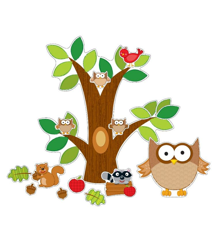 This cute, animal-themed bulletin board set includes: A tree (31 x 28.5) A large owl and 30 small owls A raccoon, a squirrel, and a bird 4 leaves 3 acorns An apple A resource guide