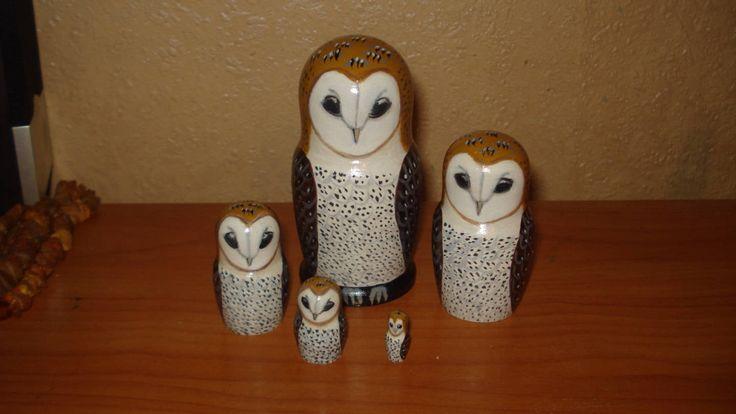 Set of 5pc hand painted wooden russian matryoshka nesting dolls BARN OWLS by Matreshkas on Etsy