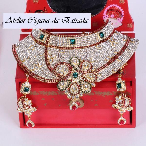 Conjunto Maxi Jóia LUXO 2PÇs #jóias #ciganas #importadas #colar #indiano #casamento #luxo #festa #15 #anos #15anos