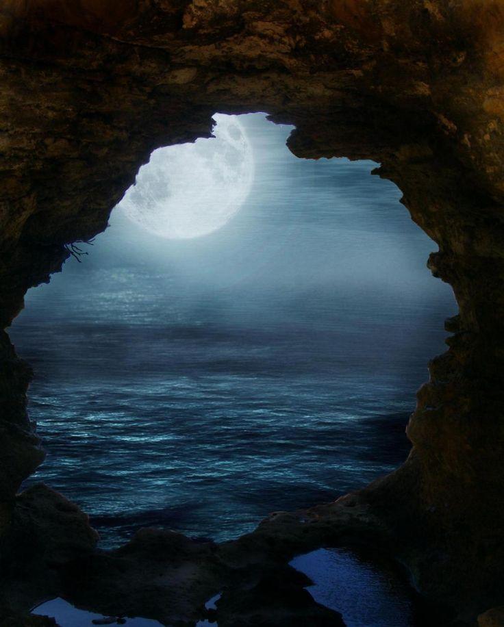 Moon & Sea: Dreams, Moon, Sea Caves, Fullmoon, Beautiful, Full Moon, Blue Moon, Moonlight, The Moon