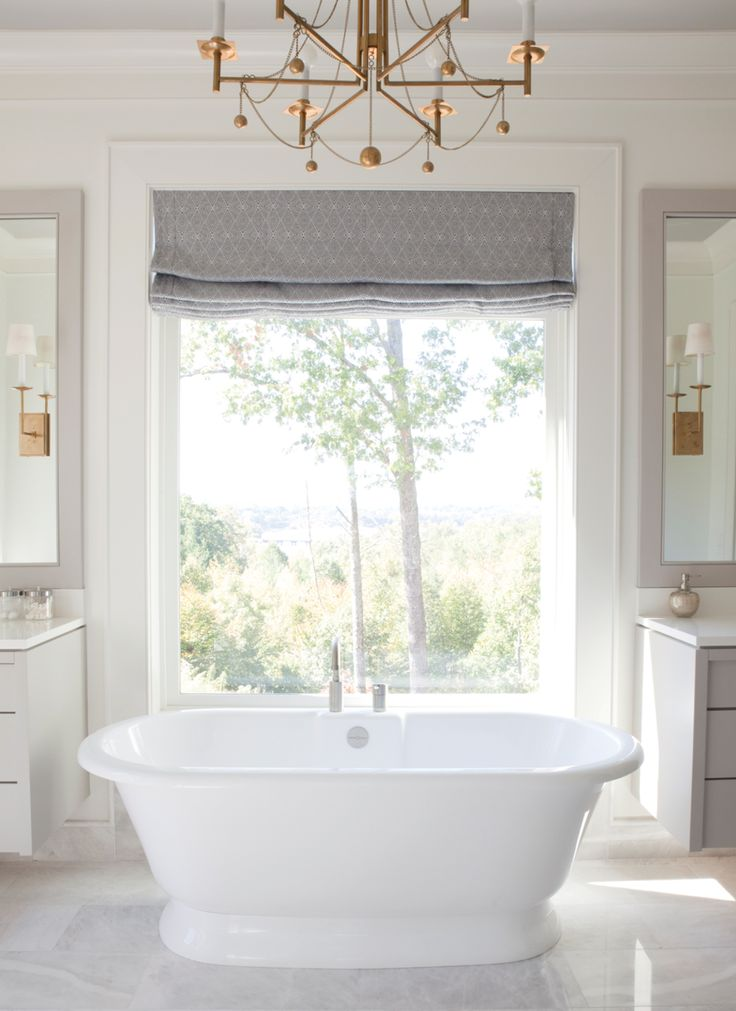freestanding tub, vanity mirrors, chandelier  The Painted House in Atlanta Magazine's HOME