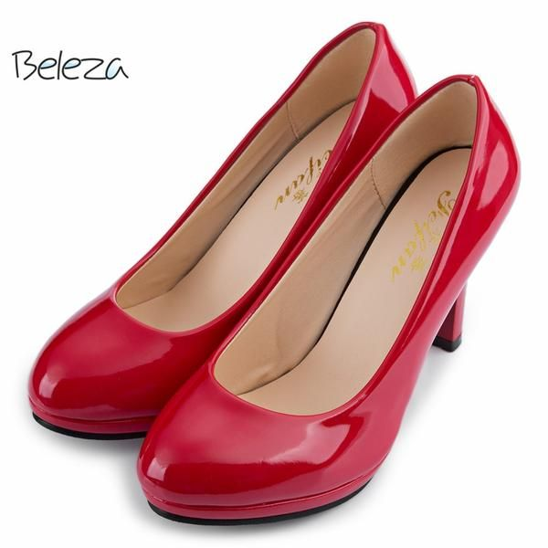 Casual Women's Office Pumps Elegant Ladies Solid Shallow Mouth Round Toe Patent Leather Thick High Heel Shoes