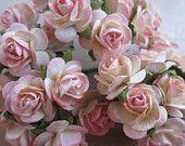 50 handgemaakte Mulberry papier tinten roze rozen, 1.3 cm voor huwelijk, romantische rozen, boeket rozen, scrapbooking, decoratie, bloemen