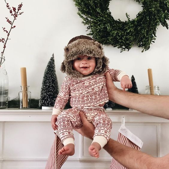 christmas jammies and winter hat