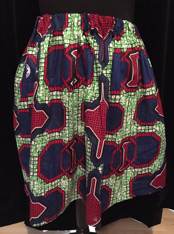 Blue, Green and Red African Cotton Wax Print Skater Skirt