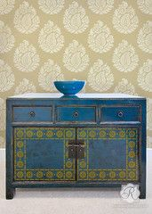 Indian Flower Border Furniture Stencil and Paisley Stencil by Royal Design Studio DIY home decor Wall Stencils