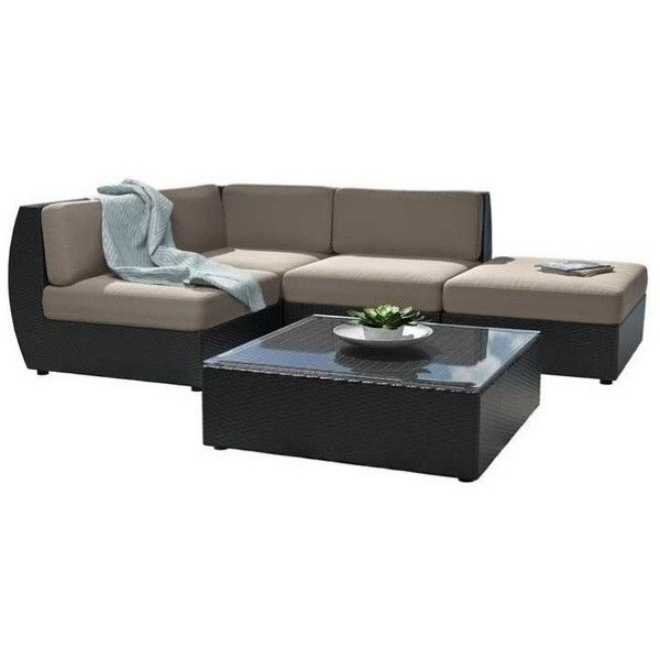 CorLiving Seattle Curved 5 pc Sectional Chaise Lounge Patio Set ($1,667) ❤  liked on - 25+ Best Ideas About Beige Outdoor Furniture On Pinterest Front