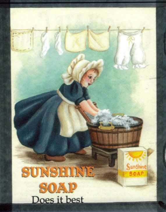 Laundry Sign Sunshine Soap Retro Primitive Country By