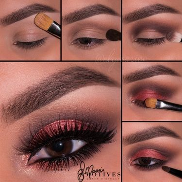 This is a pretty eye makeup look for Valentine's Day.. Daring Red via Motives Cosmetics
