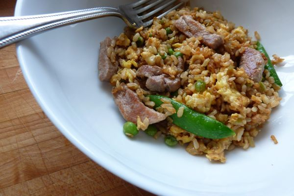Quick and Easy Pork Fried Rice -- made this tonight. Added red pepper, frozen snap peas, carrot, and broccoli. (Winner!)