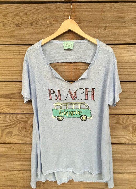 """Judith March Blue Open Back Tee w/ """"Beach Hippie"""""""