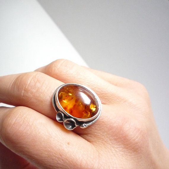 art nouveau amber ring