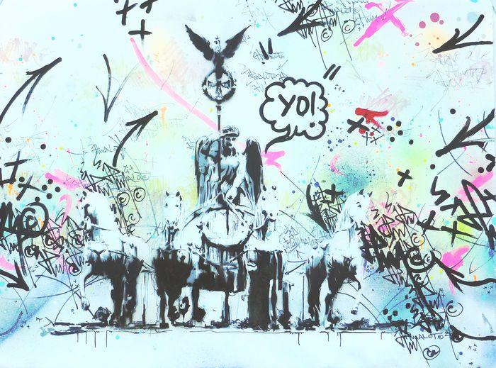 JP Malot - YO! Berlijn  Originele unieke schilderij op 280-g kunst papier jaar: 2015Het werk 56 x 76 cm vertegenwoordigt de zeer beroemde triumphal arch monument van de Brandenburger Tor in Berlijn die regelmatig als een plaats van diverse evenementen van de bevolking van Berlijn dient.Gemengde techniek met inbegrip van spuitbussen stencils acrylics verschillende inkten en Posca.Conditie: Zeer goedOorsprong: rechtstreeks uit de studio van de kunstenaar.Certificaat van echtheid. Ondertekend…