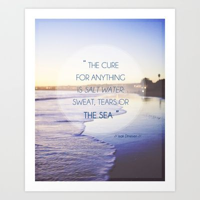 Salt Water Quote, Ocean Photography Art Print by Kim Lucian Photography - $17.00