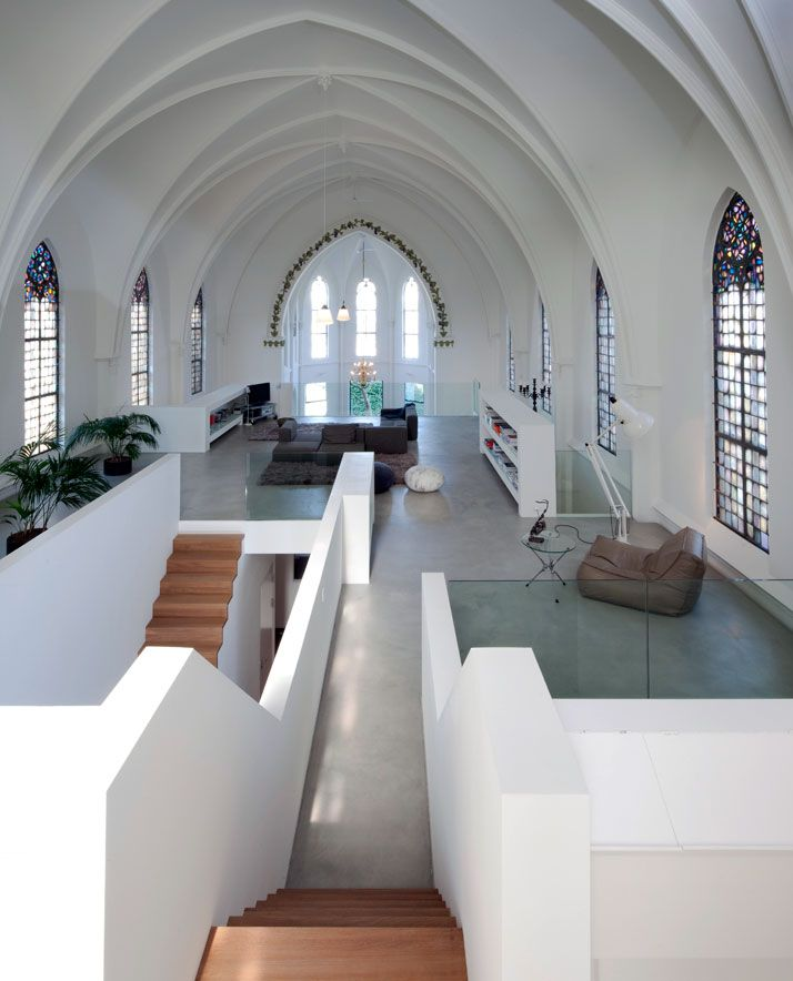 Church conversion into a residence in Utrecht by Zecc | As a general mindset, I have never been a fan of taking old churches and making them residences, but this has been done beautifully
