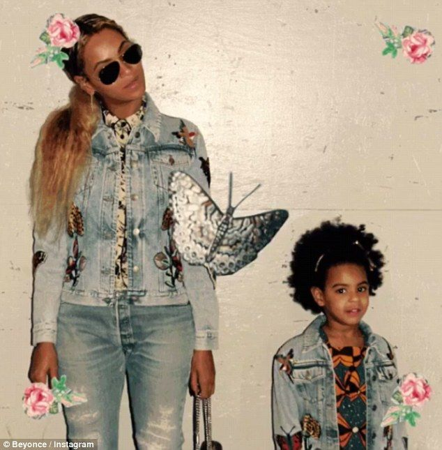 Mummy and me: Beyonce posted an Instagram slideshow of herself and Blue Ivy wearing matching jean jackets custom designed by Gucci's Alessandro Michele on Wednesday evening