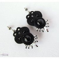 black and silvern earring