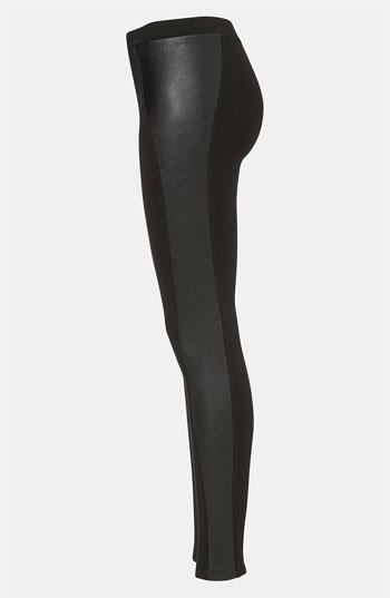 Topshop Faux Leather Panel Leggings   Nordstrom