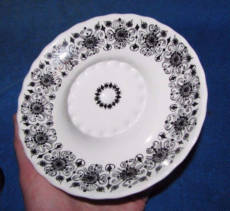 Vintage Norway Figgjo Flint sweet plate white black ornament Scandinavian #FiggjoFlint