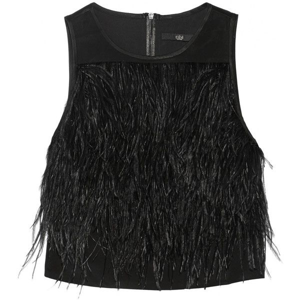 Tibi Cera Tuxedo cropped feather-trimmed crepe de chine top found on Polyvore