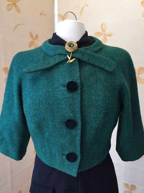 1950s vintage wool bolero jacket with velvet buttons by vintagecaf