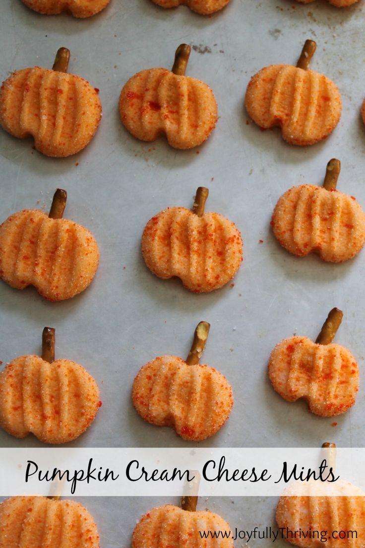 Pumpkin Cream Cheese Mints - A simple but festive fall treat! I love these mints. What a fun pumpkin idea!