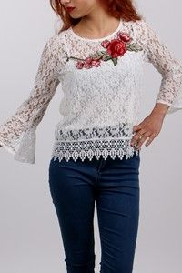 Adyes Dantelli Çiçek Yaka Bluz