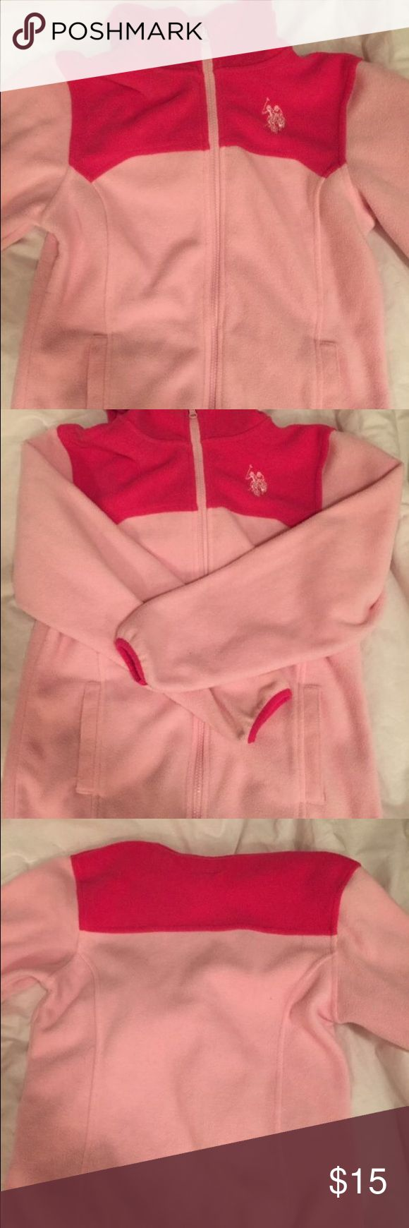 Women's size small Ralph Lauren Polo pink zip up Cute and cozy pink Ralph Lauren zip up. Features a hood and front pockets. Worn once, purchased second hand. Polo by Ralph Lauren Tops Sweatshirts & Hoodies