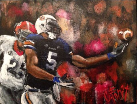 beautiful painting capturing the Miracle Catch of the Auburn/Georgia game… by artist and Auburn grad, Carole Foret