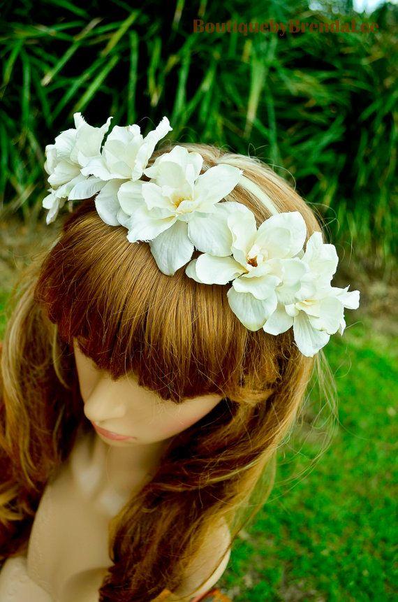 Cream white Delphinium Flower head wreath by BoutiquebyBrendaLee