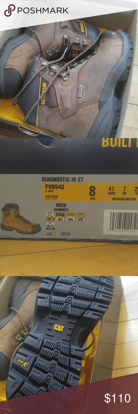 Brand New Men's Caterpillar Work Boots SIZE 8 These are men's boots. Brands new and never worn only tried on. They have an extra set of insoles along with the original ones. Those are brand new as well. These will fit a women's 9-10 comfortably. I'm a size 8.5 in women's so I added the insoles for a snug fit.  Price is negotiable within reason! Caterpillar Shoes