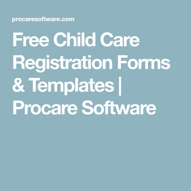 Free Child Care Registration Forms & Templates   Procare Software