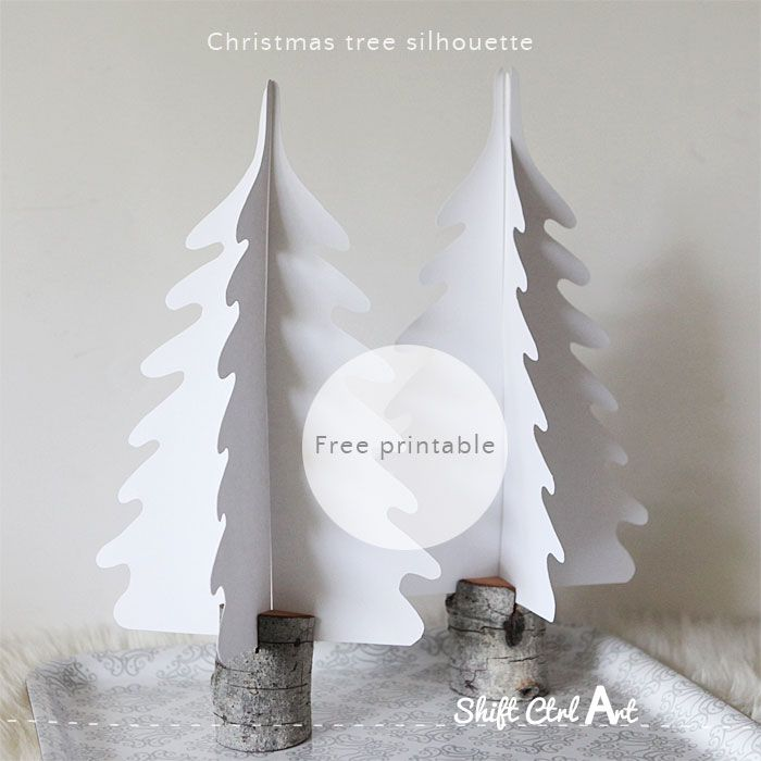 Christmas tree silhouette free printable 1 | {cmc; MH~ use green paper (with white snowy tips?) in different sizes}